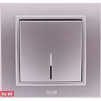 Проходной выключатель с подсветкой EL-BI Zena Silverline металлик (механизм)