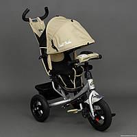 Детский трёхколёсный велосипед Best Trike Надувные колеса + ФАРА 6588В БЕЖЕВЫЙ СЕРЕБРИСТАЯ РАМА