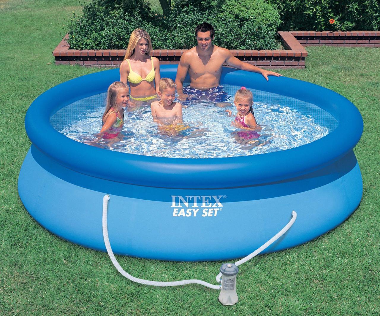 Надувной бассейн Intex 28142. Семейный Easy Set - 396 х 84 см + фильтр-насос