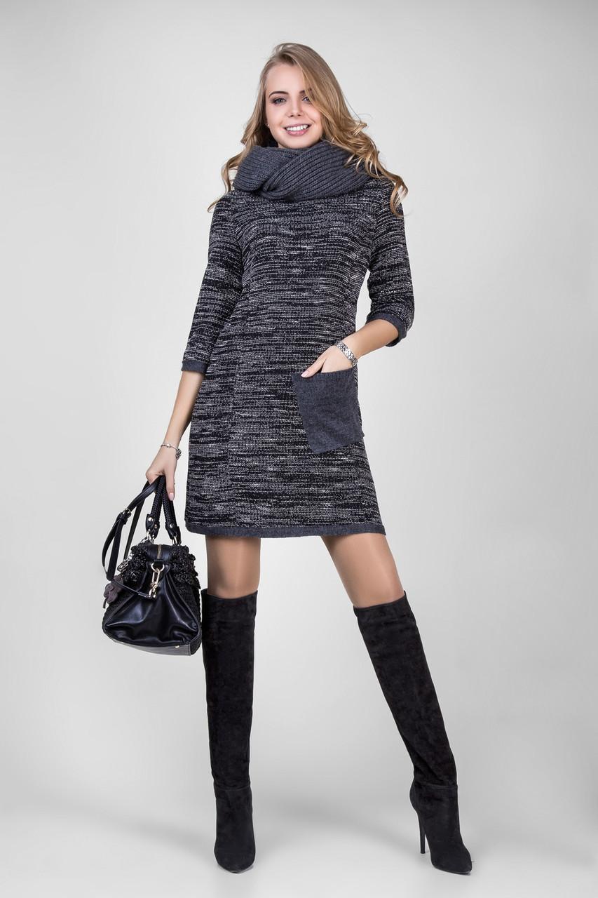 Теплое платье из плотного меланжевого трикотажа  продажа c2975ccf36349