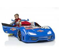 Детская кровать машина синяя (дверки открываются, подсветка)
