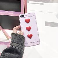 Нежный розовый резиновый чехол для айфон 7 с мягкими сердцами