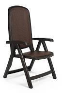 Стул, кресло пластиковое розкладное Delta шоколадное. Мебель пластиковая, садовая