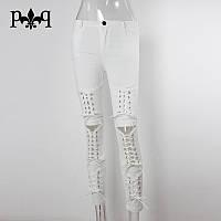 Потрясающие женские джинсы со шнуровкой эксклюзивные дизайнерские белые