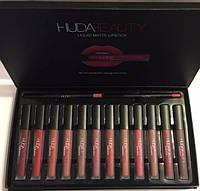 Набор жидких помад и карандашей для губ Huda Beauty 12 + 2 шт