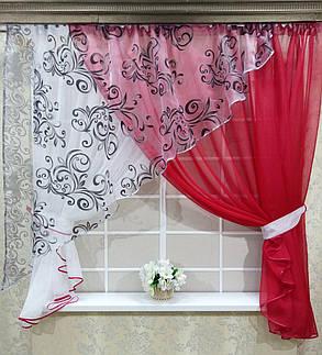 """Кухонные шторы """"Луиза"""" Красная, фото 2"""