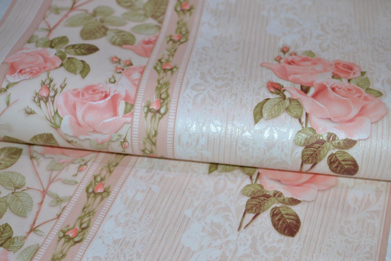 Обои на стену, цветы, крупные цветы, мелкие цветы, светлые, бумажные, B27,4 Аллан 8088-01, 0,53*10м