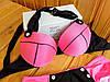 Купальник с пуш-ап розовый с черным, фото 2
