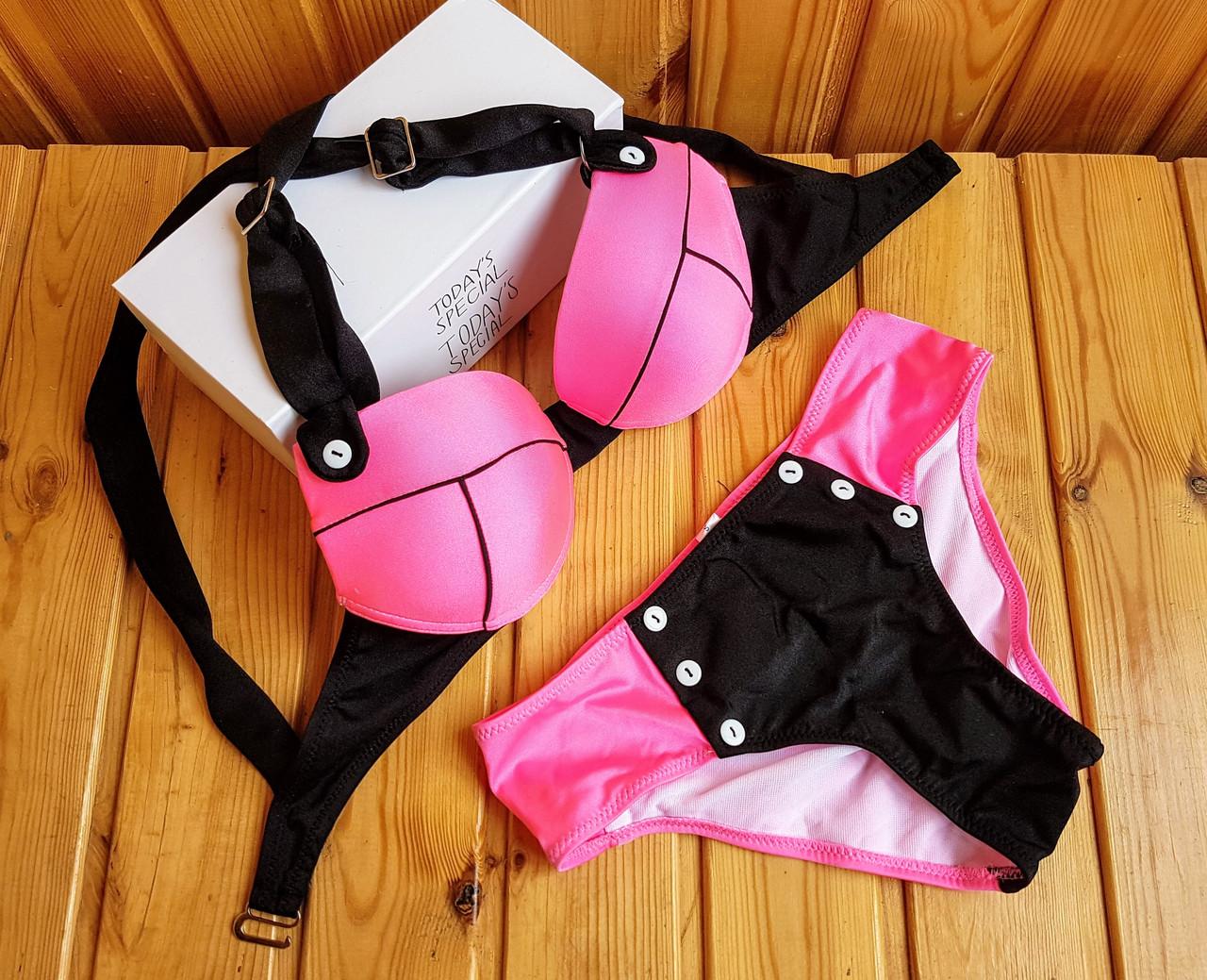 Купальник с пуш-ап розовый с черным