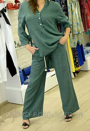 Костюм женский летний двойка рубашка и брюки лён, фото 2