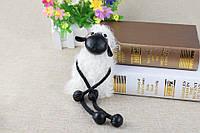 Меховой брелок на сумку в виде Овечки белый (мех ламы)