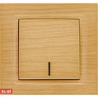 Выключатель с подсветкой EL-BI Zena Woodline берёза (механизм)