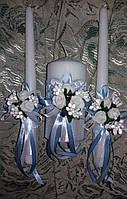 """Комплект свадебный свечей Семейного очага """"Голубой букет"""""""