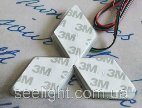 Автомобильный логотип Mitsubishi 10.2*10.2*10.2 см. светящаяся подкладка, белый, фото 2