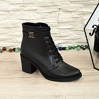 Женские кожаные зимние ботинки на устойчивом каблуке