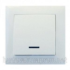 Выключатель RIGHT HAUSEN 1-й внутренний  белый с подсветкой