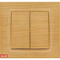 Двойной выключатель EL-BI Zena Woodline берёза (механизм)
