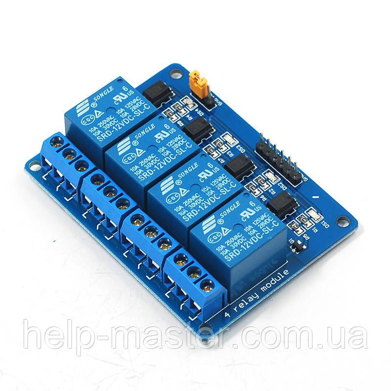 4-канальный релейный модуль 5В для Arduino PIC ARM AVR