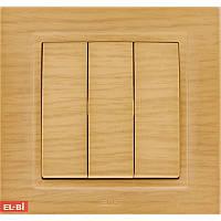 Тройной выключатель EL-BI Zena Woodline берёза (механизм)