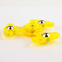Спиннер пластиковый с подшипником прозрачный желтый с блестками
