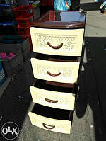 Комод пластиковый (стандарт), комод бежевый с коричневым, пластмассовый комод с 4 ящиками, универсальный комод