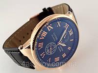 Мужские часы Le Locle на черном ремешке, цвет корпуса золото, черный циферблат