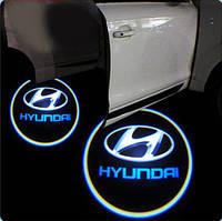 Дверной логотип LED LOGO 074 HYUNDAI,дверная подсветка, светодиодный логотип, подсветка двери на авто
