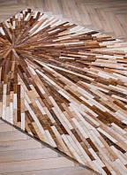Коричнево бежевый ковер из лоскутов шкуры для современного интерьера, фото 1