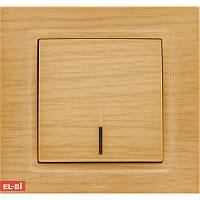 Проходной выключатель с подсветкой EL-BI Zena Woodline берёза (механизм)