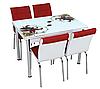 """Розкладний стіл обідній кухонний комплект стіл і стільці 3D малюнок 3д """"Червона лілія"""" ДСП скло 70*110 Лотос-М"""