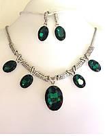 Колье набор зеленые кристаллы, серебристый