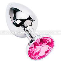 Металлическая анальная пробка с кристаллом розового цвета