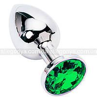 Секс игрушка анальная пробка с кристаллом изумрудного цвета