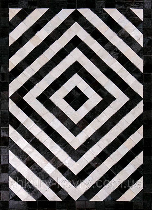 Ковер черно белый абстрация натуральная шкура