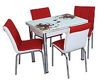 """Розкладний стіл обідній кухонний комплект стіл і стільці 3D малюнок 3д """"Червоні лілії"""" ДСП скло 60*90 Лотос-М"""