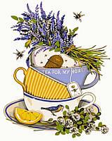 Картина по номерам без коробки Идейка Чай с лавандой и лимоном (KHO5502) 40 х 50 см