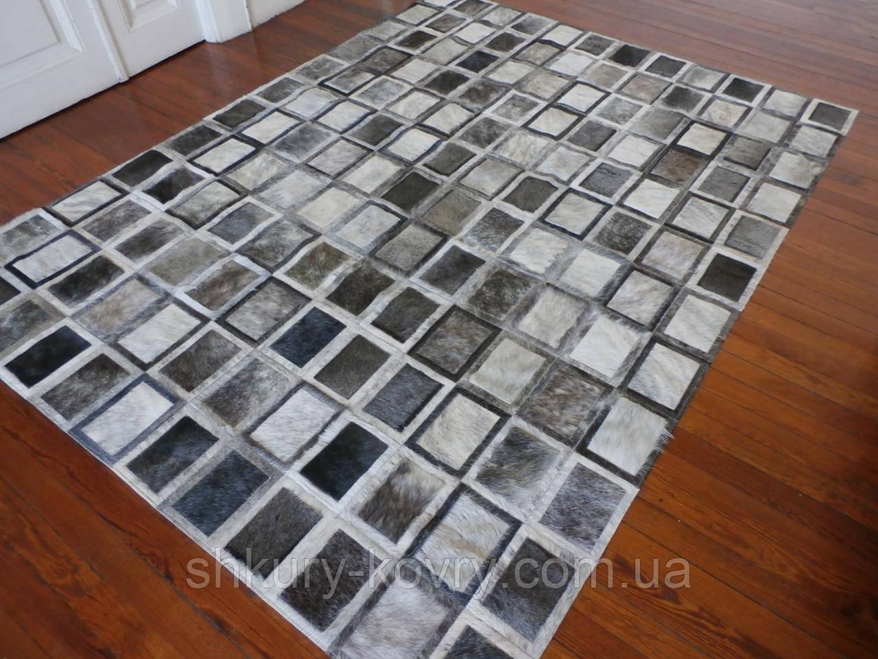 Сірий килим з шкури корови екзотичні квадрати