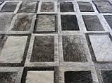 Сірий килим з шкури корови екзотичні квадрати, фото 2