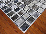 Сірий килим з шкури корови екзотичні квадрати, фото 3