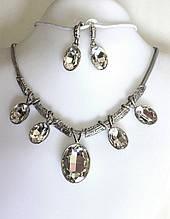 Кольє набір Fashion сріблясті кристали, сріблясте