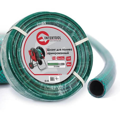 "Шланг для полива 3-х слойный 1/2"", 100м, армированный PVC INTERTOOL GE-4027, фото 2"