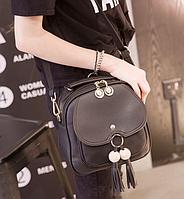 Рюкзак сумка женская с кисточкой Черный, фото 1
