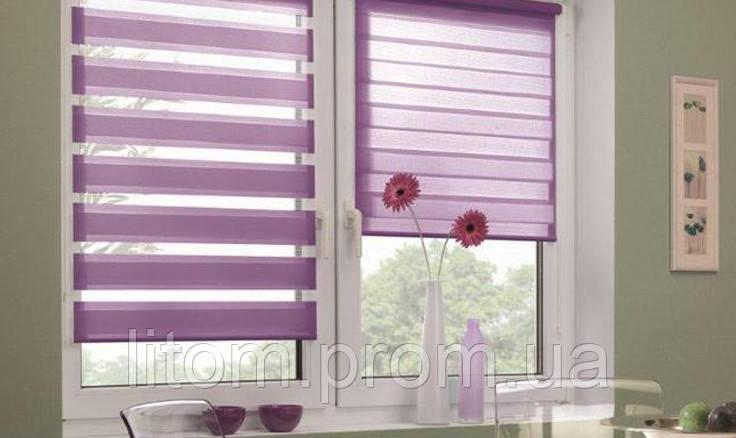 Тканевая ролета на окно, система день-ночь (зебра)