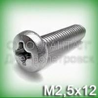 Винт М2,5х12 нержавеющий DIN 7985, ISO 7045 (ГОСТ 17473-80) с цилиндрической скруглённой головкой