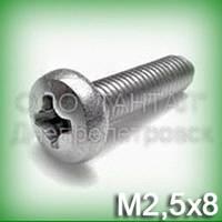 Винт М2,5х8 нержавеющий DIN 7985, ISO 7045 (ГОСТ 17473-80) с цилиндрической скруглённой головкой