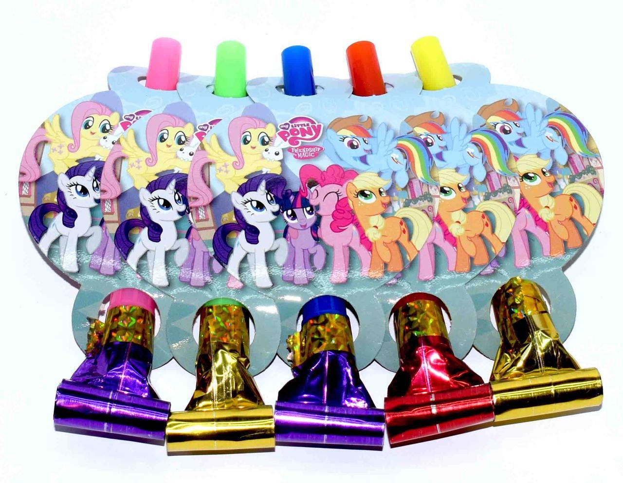 """Язычок гудок карнавальный """"Little Pony"""". В упак: 5 шт."""