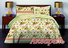 Двуспальный комплект постельного белья Бязь премиум АКВАРЕЛЬ (нав 70х70 – 2 шт)