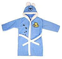 Детский махровый халат (синий), 5-6г.