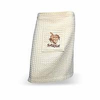 Килт-юбка вафельная для сауны, кремовая 55х160см