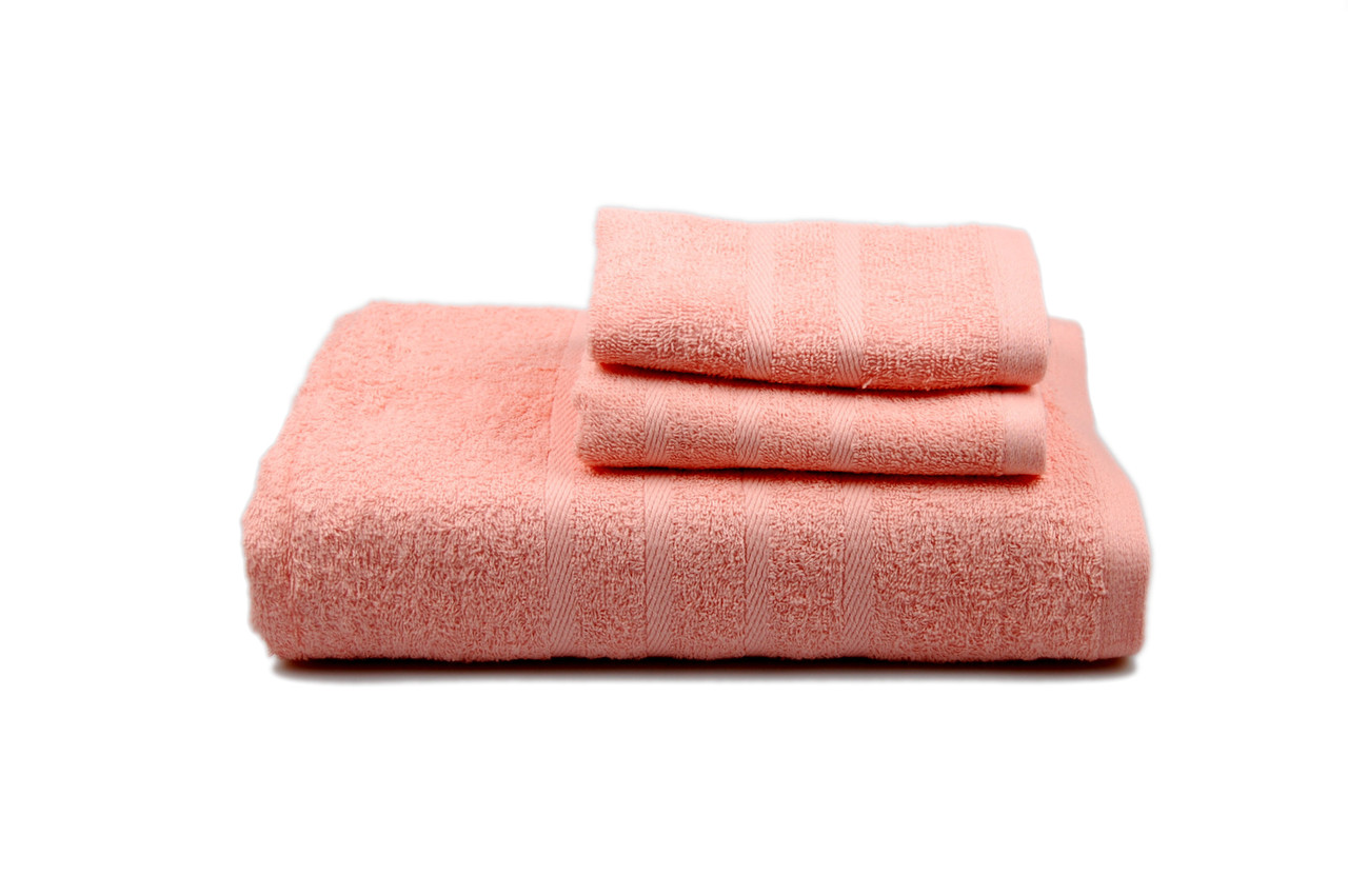 Полотенце гладкокрашеное махровое (персиковое), 40х70см